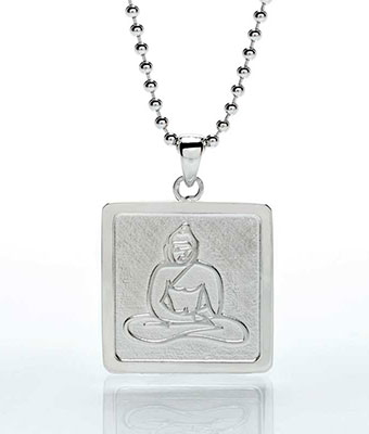 Sterling Silver Square Buddha Pendant.