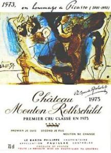 Artist wine label Pablo Picasso 1973 Chateau Mouton Rothschild
