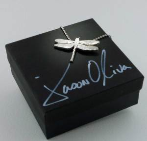 Dragonfly sterling silver pendant with hand signed gift box.