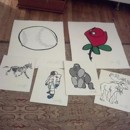 Valentine's Day Jason Oliva Works on Paper Baseball Rose Stripey Horse Zebra Astronaut Gorilla Moose