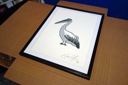 Jason Oliva Grey Pelican work on paper painting