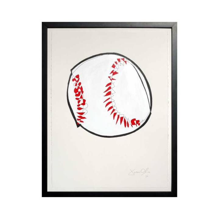 Medium color framed Baseball work on paper by Jason Oliva