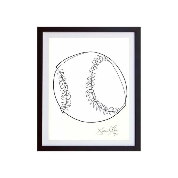 SMall White Framed Baseball Jason Oliva work on paper