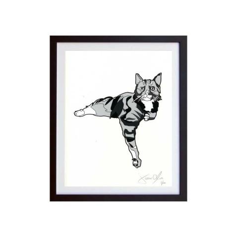Cat-grey-framed-small-work-