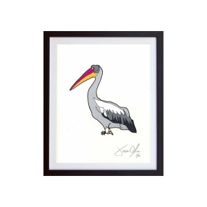 Pelican color small work on paper by artist Jason Oliva