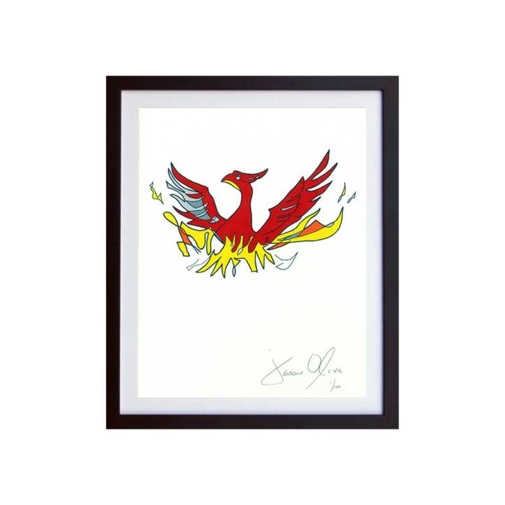 Phoenix (Color) Small Hand Painted Work on Paper by Jason Oliva Edition of 100