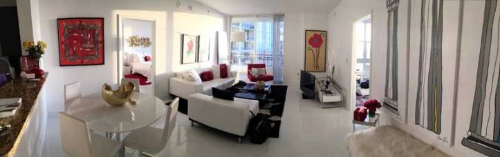 Poppy, Columns: Ionic, Doric and Corinthian paintings alongside works on paper of Eiffel Tower and Rose in a collectors apartment in FLorida