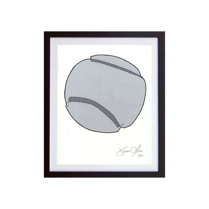 Tennis Ball (Grey) SMall Work on Paper by Jason Oliva
