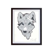 Wolf-Color-SMall-work-on-paper-framed-Jason-Oliva
