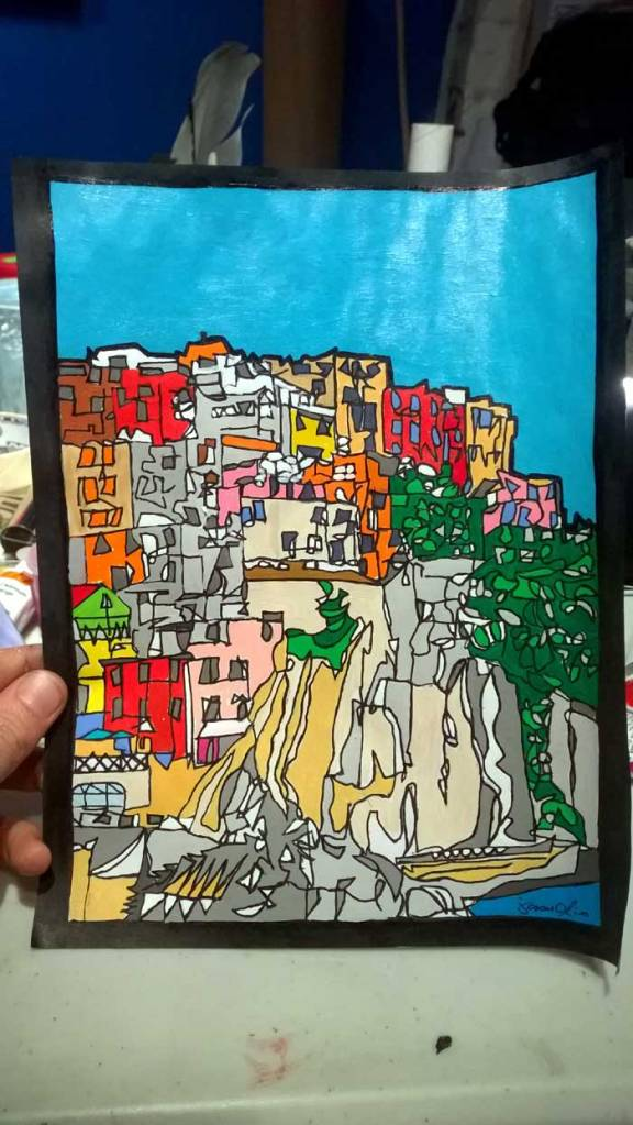 Cinque Terre paper study by Jason Oliva
