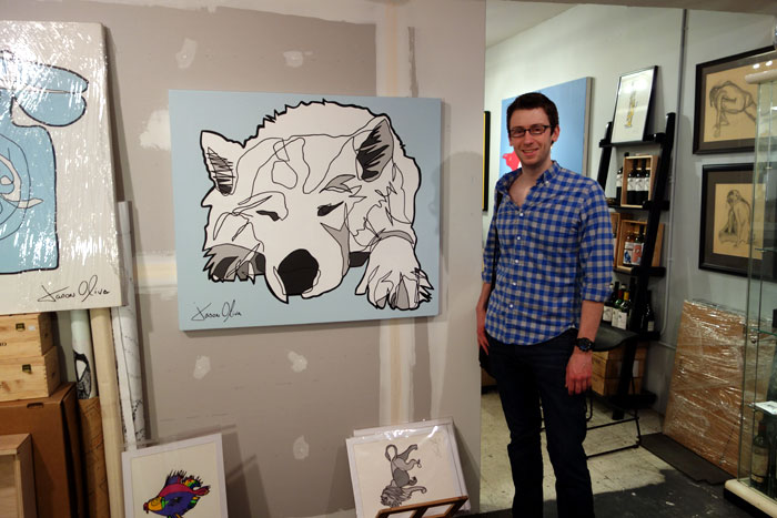Commissioner with their dog portrait Lumi by artist Jason Oliva