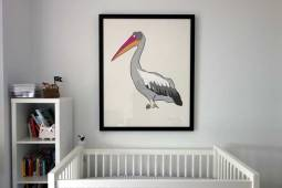 Pelican Large work on paper by Jason Oliva in a nursery