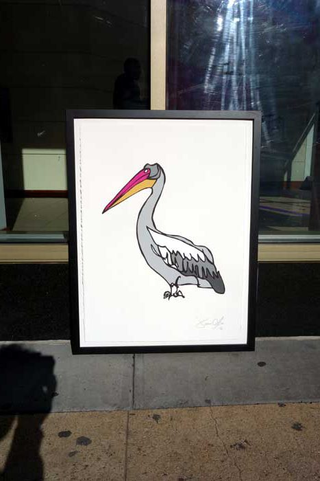 Pelican Medium work on paper by Jason Oliva being photographed