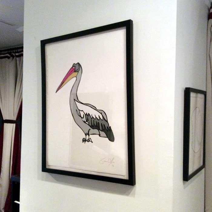 Pelican medium work on paper by Jason Oliva on display